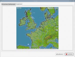 Ein Wolkenkreis auf der Radarkarte über Europa